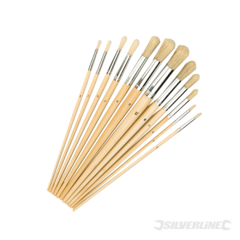 Artists Paint Brush Set 12pce Silverline Round Tips