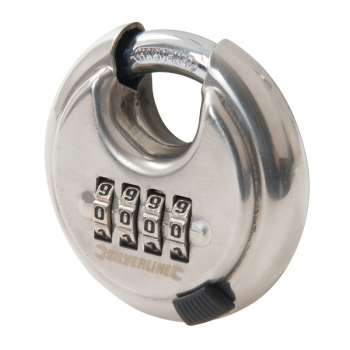 Stainless Combi Disc Padlock Silverline 70mm 4-Digit