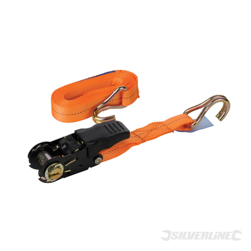 Rubber Ratchet Tie Down Strap Silverline Rated 250kg Cap700k