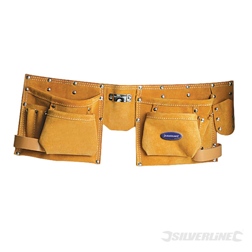 Double Pouch Tool Belt 8Pocket Silverline 300 x 200mm