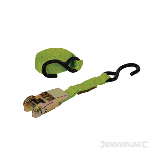 Ratchet Tie Down Strap S-Hook Silverline Rated 150kg Cap375k