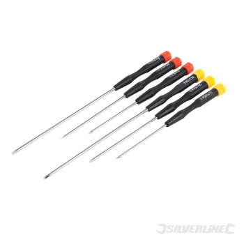 Extra-Long Precision Screwdriv Silverline Set 6pce