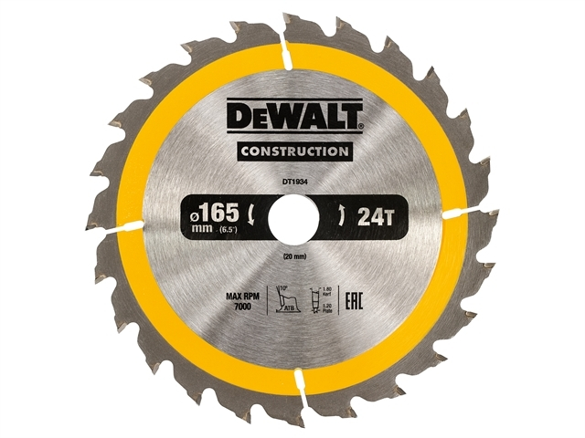 Construction Circular Saw Blade 165 x 20mm x 24T