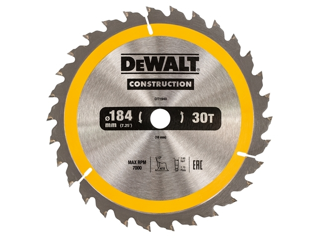 Construction Circular Saw Blade 184 x 16mm x 30T