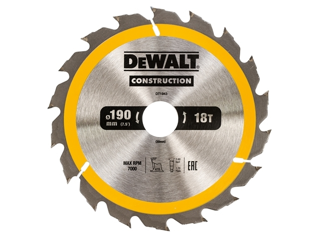 Construction Circular Saw Blade 190 x 30mm x 18T