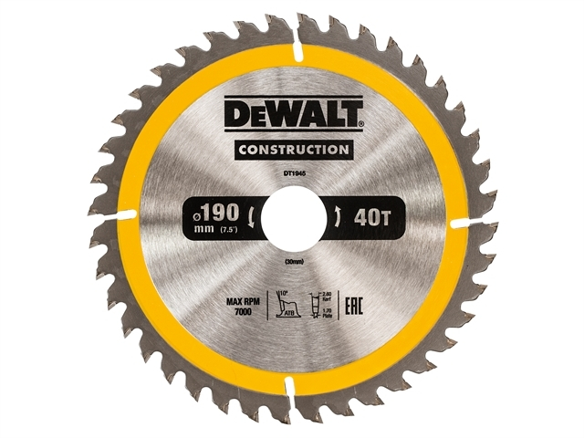 Construction Circular Saw Blade 190 x 30mm x 40T