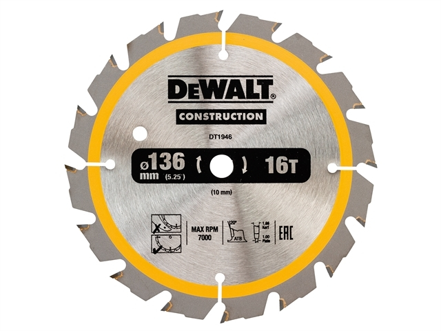 Cordless Construction Circular Saw Blade 136 x 10mm x 16T