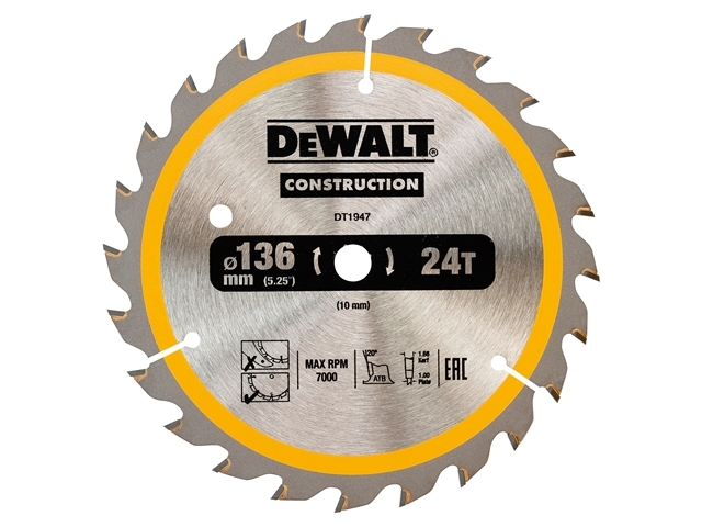 Cordless Construction Circular Saw Blade 136 x 10mm x 24T