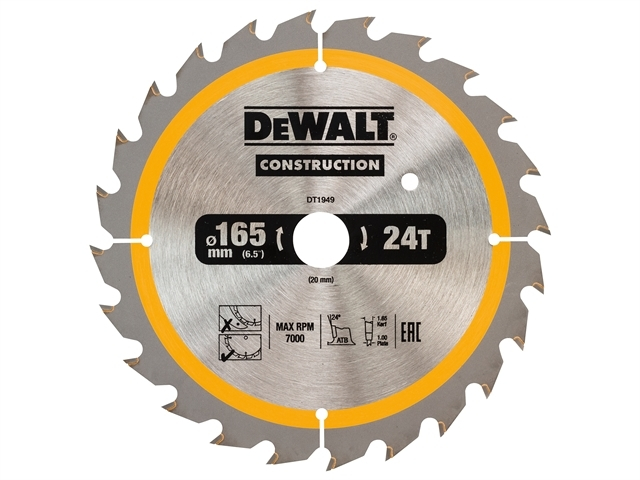 Cordless Construction Circular Saw Blade 165 x 20mm x 24T