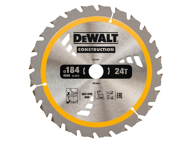 Cordless Construction Circular Saw Blade 184 x 20mm x 24T