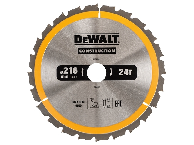 Stationary Construction Circul ar Saw Blade 216 x 30mm x 24T
