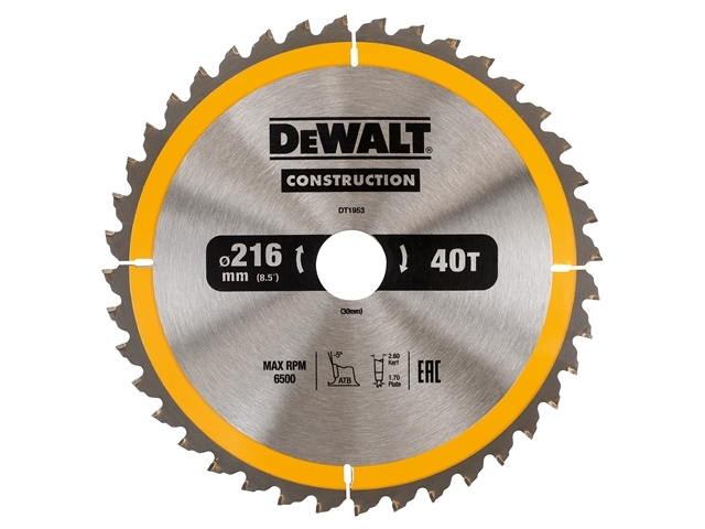Stationary Construction Circul ar Saw Blade 216 x 30mm x 40T