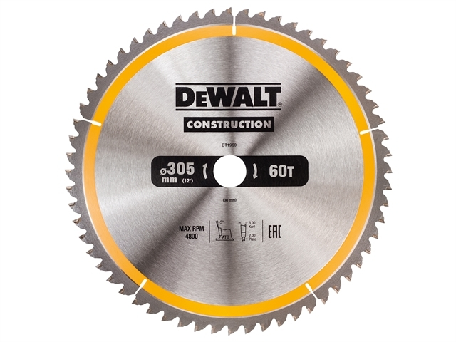 Stationary Construction Circul ar Saw Blade 305 x 30mm x 60T