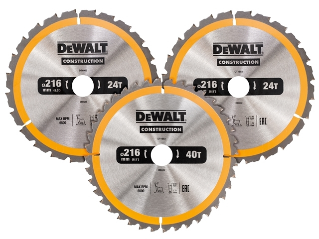 DT1962 Construction Circular S aw Blade 3 Pack 216 x 30mm 2 x