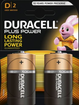 D Cell Plus Power LR20/HP2 Batteries (Pack 2)