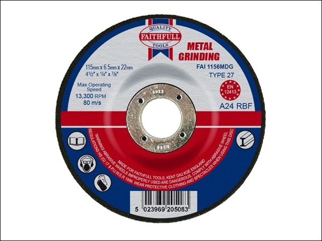 Depressed Centre Metal Grinding Disc 115 x 6.5 x 22mm