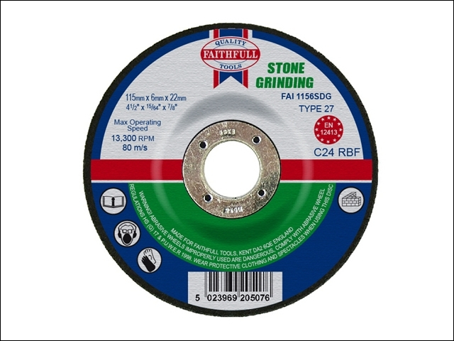 Depressed Centre Stone Grinding Disc 115 x 6 x 22mm