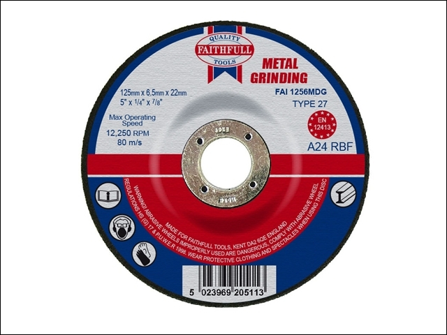Depressed Centre Metal Grinding Disc 125 x 6.5 x 22mm