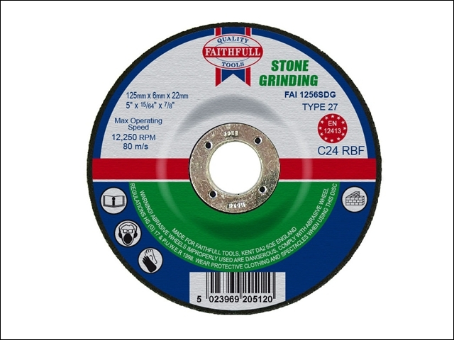 Depressed Centre Stone Grinding Disc 125 x 6 x 22mm