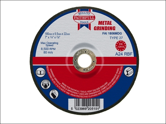Depressed Centre Metal Grinding Disc 180 x 6.5 x 22mm