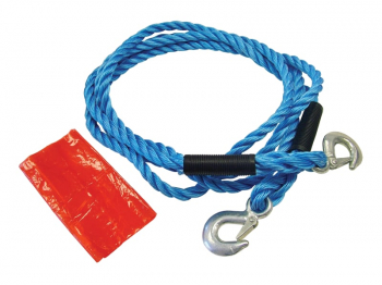 Tow Rope 4m Metal Hooks 2 Tonne