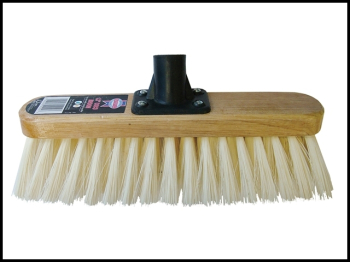 Soft Cream PVC Bristle Broom H ead 300mm (12in) Threaded Sock