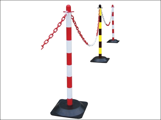 Plastic Post for Chain - Red / White