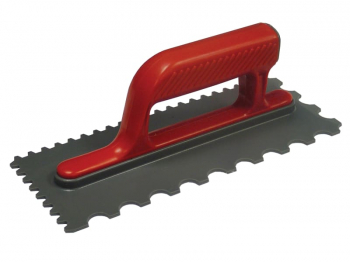 Notched Trowel V 4mm & Round 7 mm Plastic Handle 11 x 4.1/2in