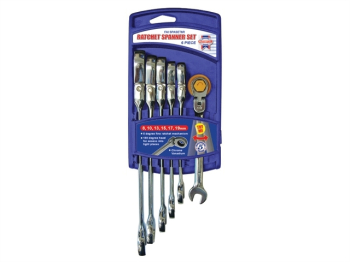 Ratchet Combination Spanner Flex Head Set, 6 Piece