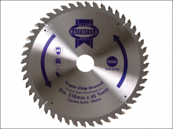 TCT Circular Saw Blade Triple Chip Ground 216 x 30mm x 48T N