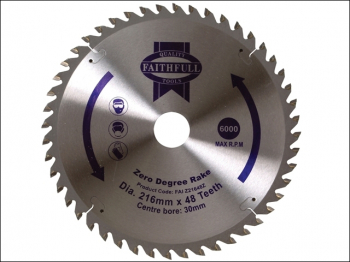 TCT Circular Saw Blade Zero Degree 216 x 30mm x 48T
