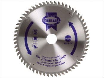 TCT Cross Cut Mitre Saw Blade 216 x 30mm x 60T NEG