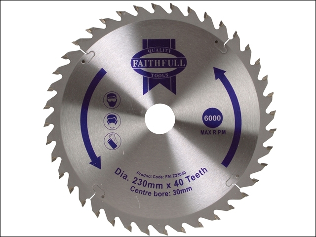 Circular Saw Blade TCT 230 x 30mm x 40T Fine Cross Cut