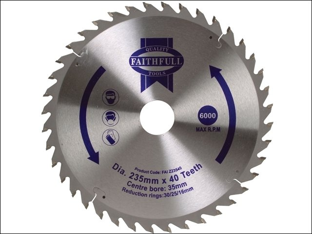 Circular Saw Blade TCT 235 x 16/20/30/35mm x 40T Fine Cross