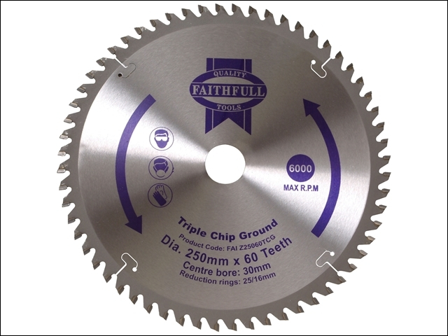 TCT Circular Saw Blade Triple Chip Ground 250 x 30mm x 60T N