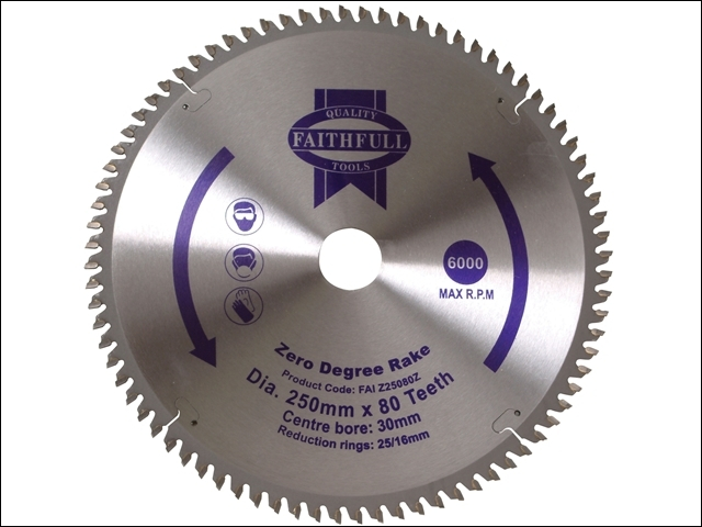 TCT Circular Saw Blade Zero Degree 250 x 30mm x 80T