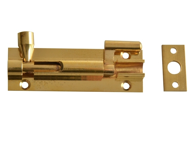 Door Bolt Necked - Brass 75mm (3in)