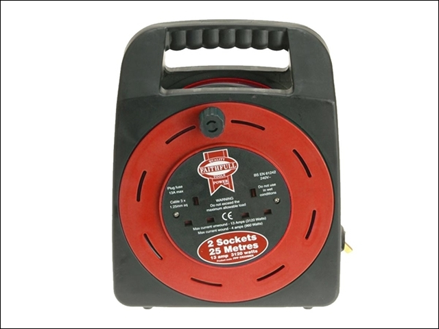 Easy Reel Cable Reel 25 Metre 13 Amp with 2 Socket 240 Volt