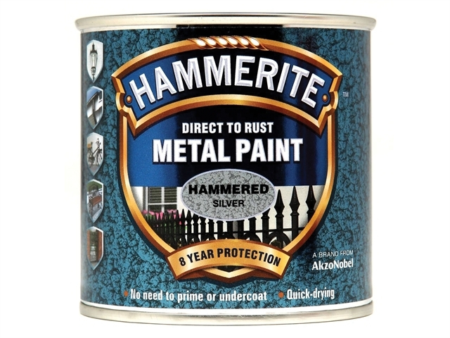 Direct to Rust Hammered Finish Metal Paint Silver 250ml