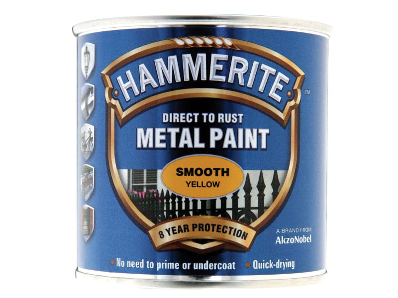 Direct to Rust Smooth Finish Metal Paint Yellow 250ml