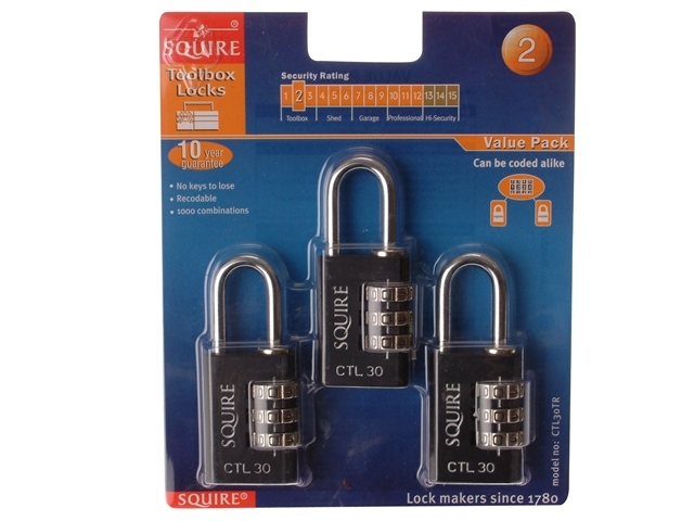 Toughlock Re-Codeable Black Co mbination Padlock 30mm (Pack o