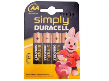 AA Simply Duracell Alkaline MN1500 Batteries Pack of 4