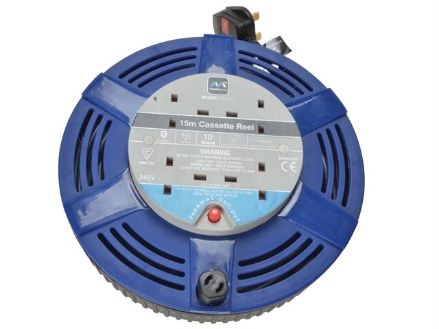 Cassette Cable Reel 15 Metre 4 Socket Thermal Cut-Out Blue 1