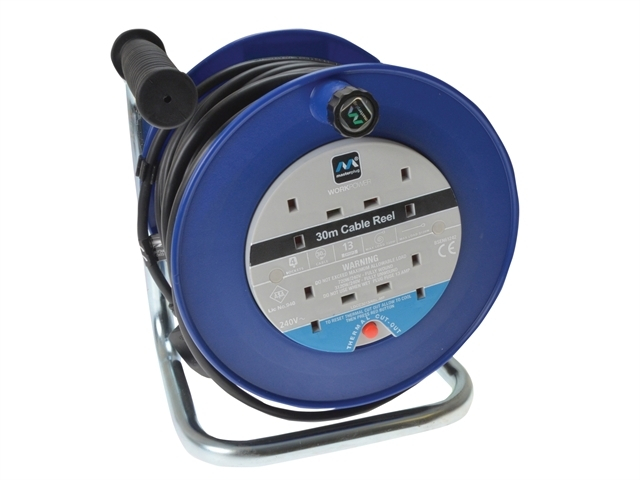 Heavy-Duty Cable Reel 30 Metre 4 Socket 13A Thermal Cut-Out