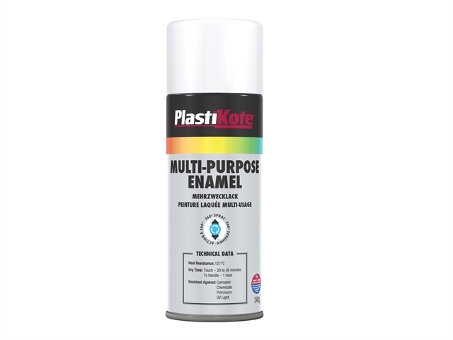 Multi Purpose Enamel Spray Paint Matt White 400ml