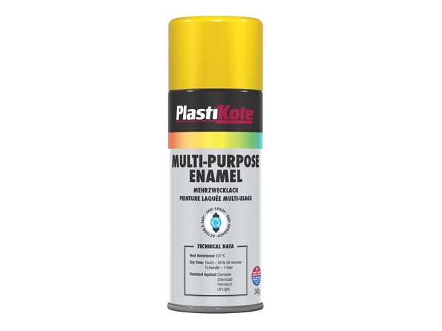 Multi Purpose Enamel Spray Paint Gloss Yellow 400ml