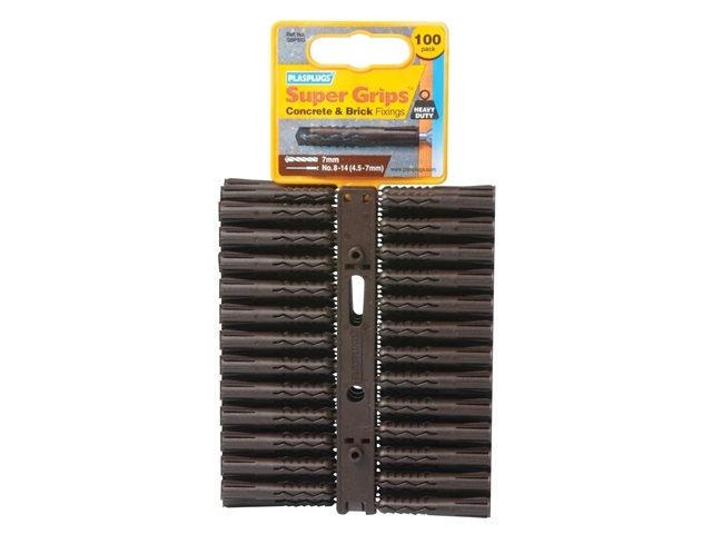 SBP 503 Solid Wall Super Grips Fixings Brown (100)