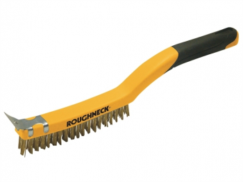 Carbon Steel Wire Brush Soft Grip with Scraper 355mm (14in)