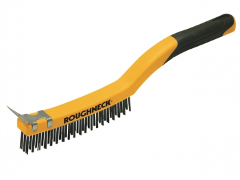 Stainless Steel Wire Brush Sof t Grip with Scraper 355mm (14i