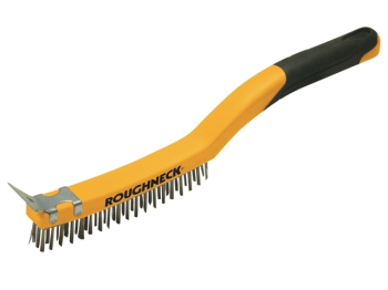 Brass Wire Brush Soft Grip wit h Scraper 355mm (14in) - 3 Row